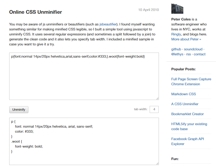 Unminificador de CSS en línea